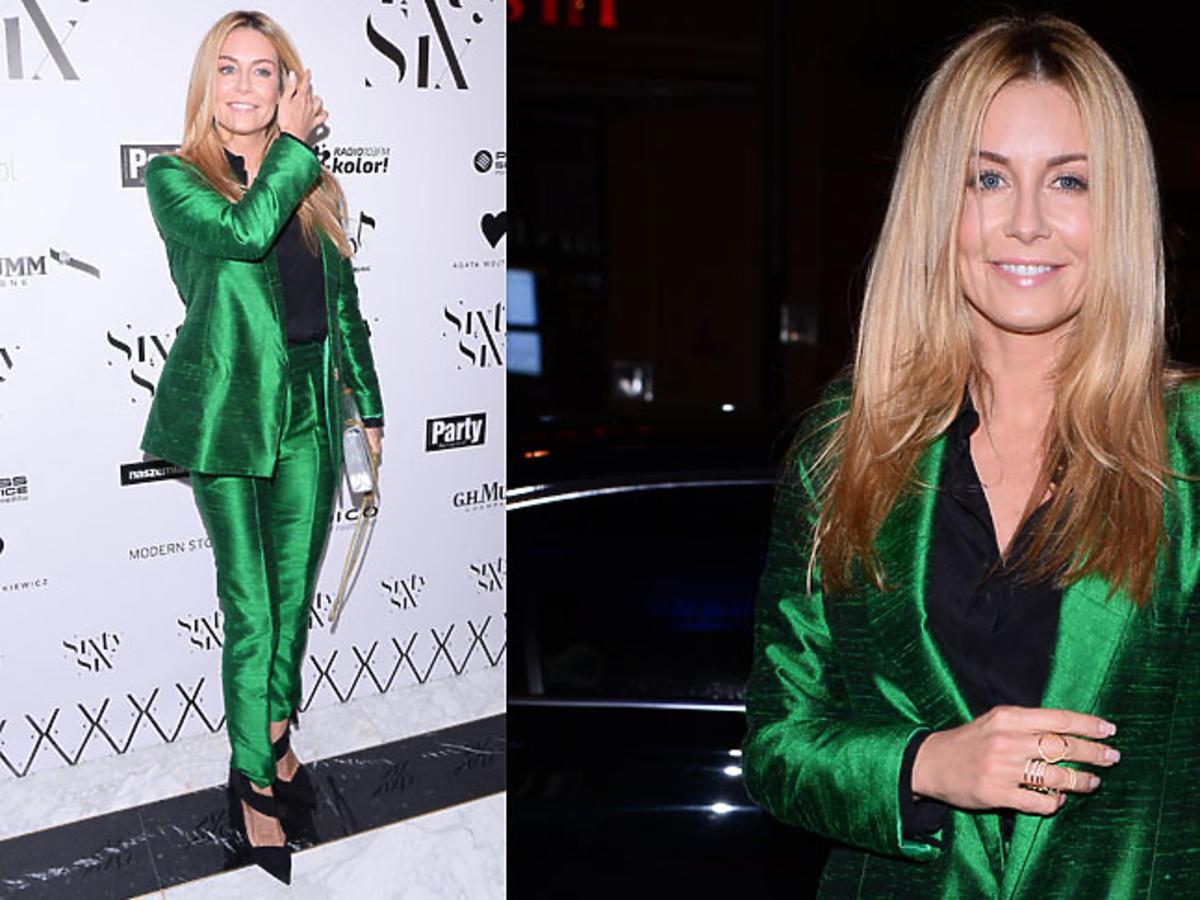 Małgorzata Rozenek w zielonym garniturze