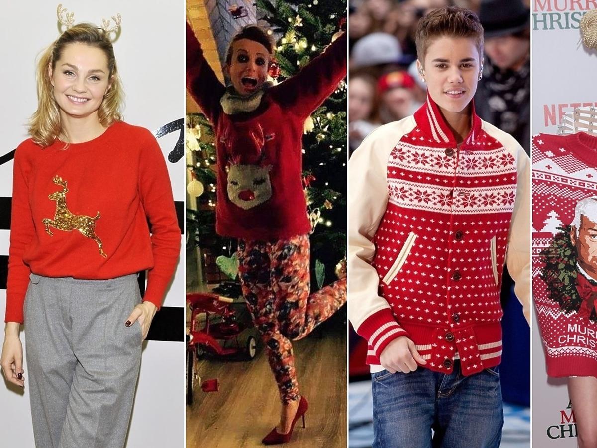 Małgorzata Socha, Katarzyna Zielińska, Justin Bieber, Miley Cyrus w świątecznych swetrach
