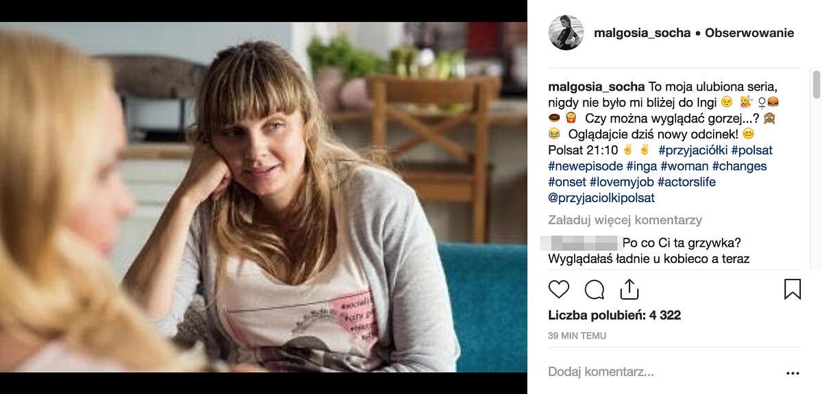 Małgorzata Socha na Instagramie