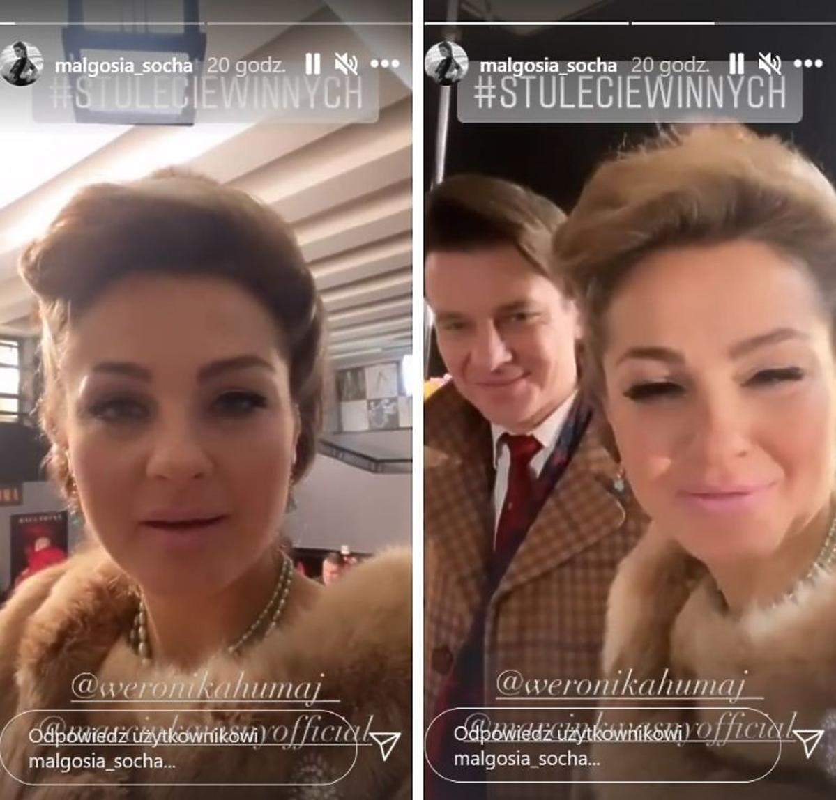 Małgorzata Socha na planie serialu Stulecie Winnych