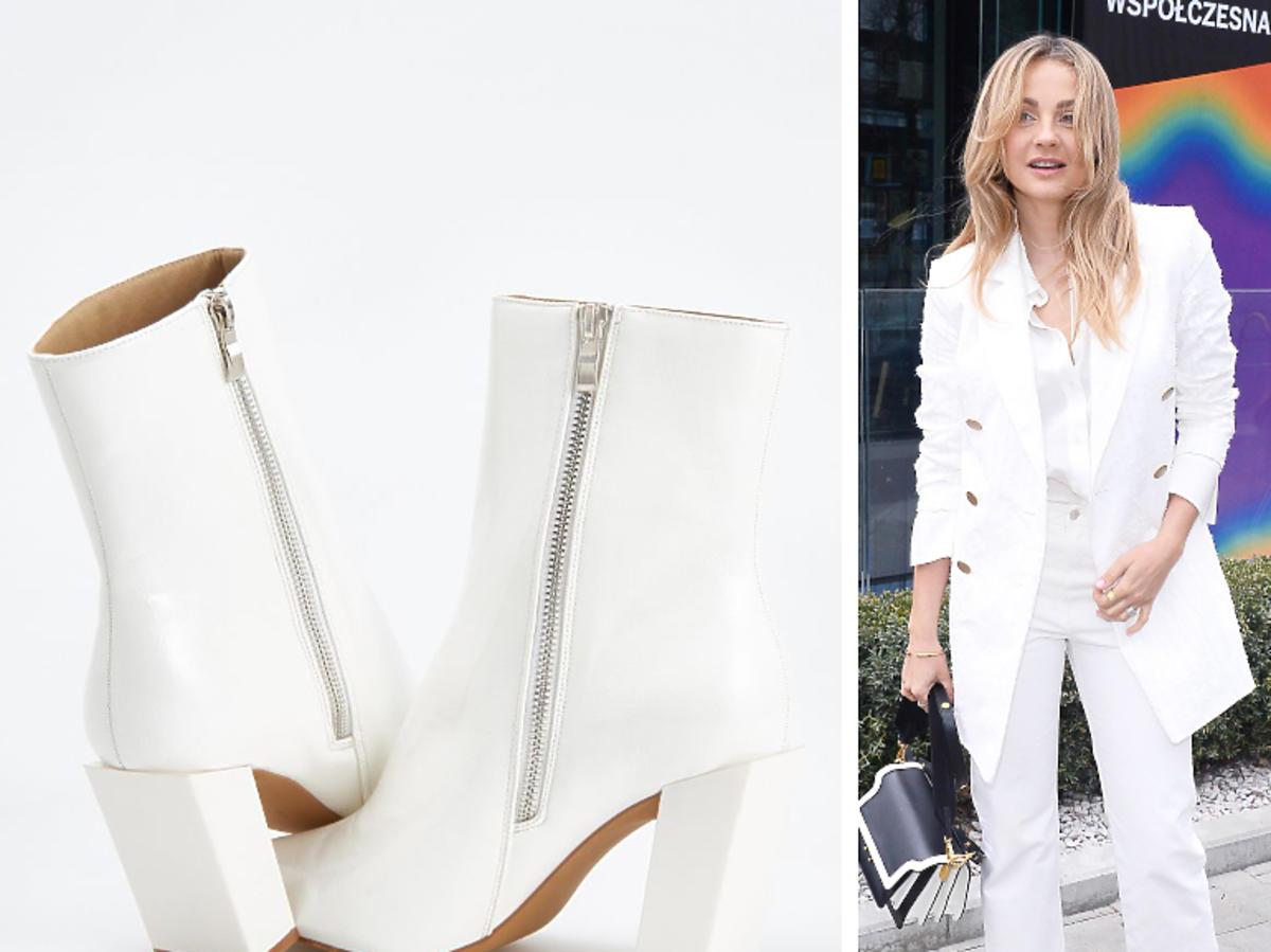 Małgorzata Socha w białych botkach