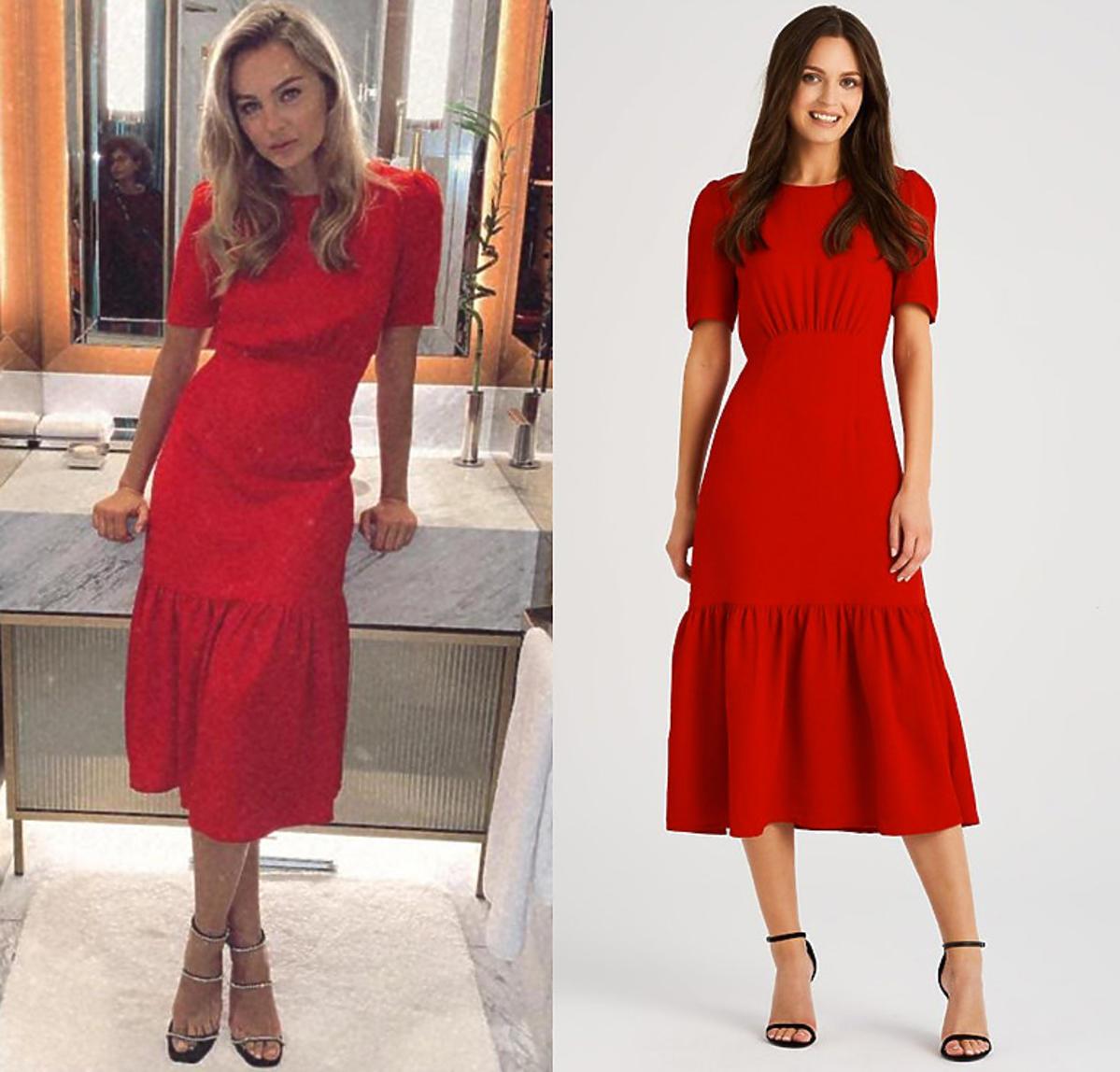 Małgorzata Socha w czerwonej sukience z falbaną Monnari