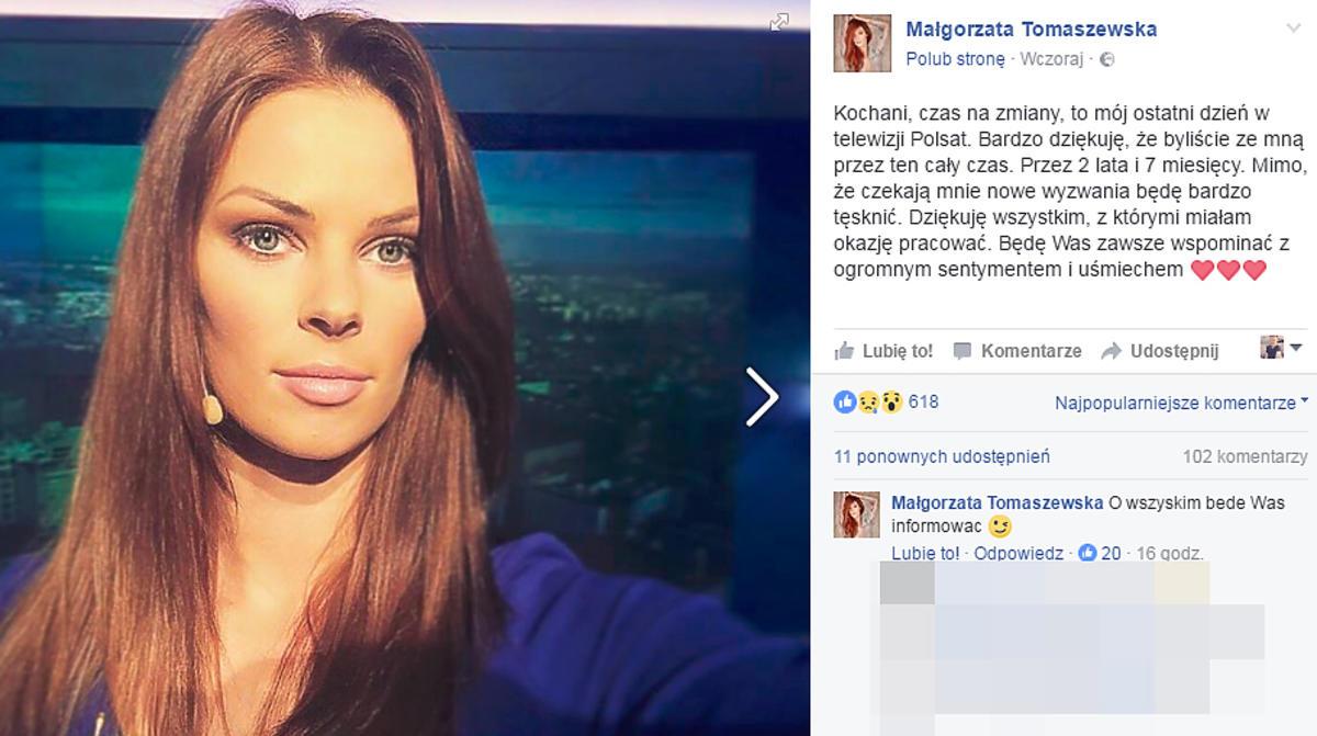 Małgorzata Tomaszewska odchodzi z Polsatu