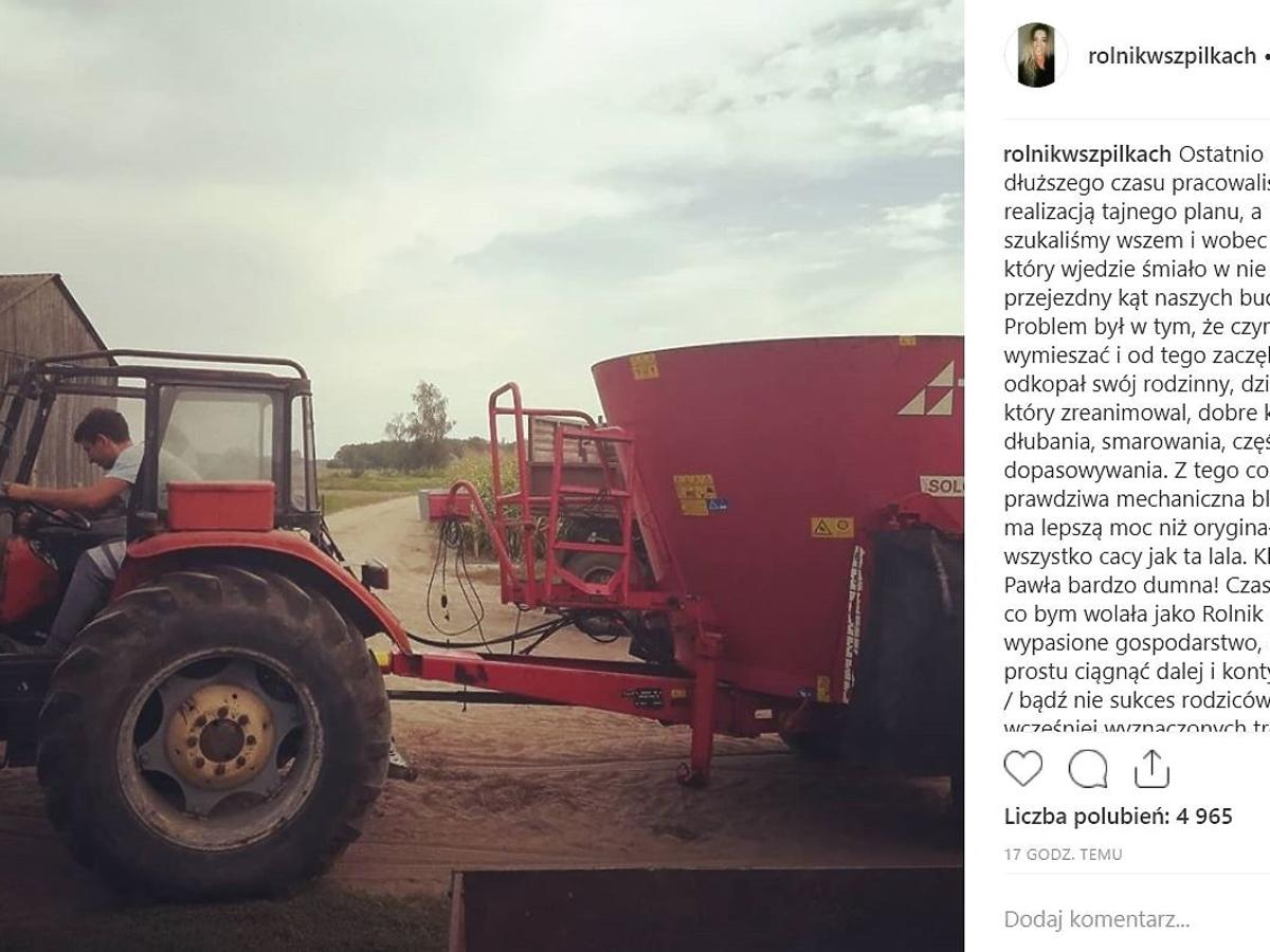 Małgosia z Rolnik szuka żony - nowy wpis na Instagramie