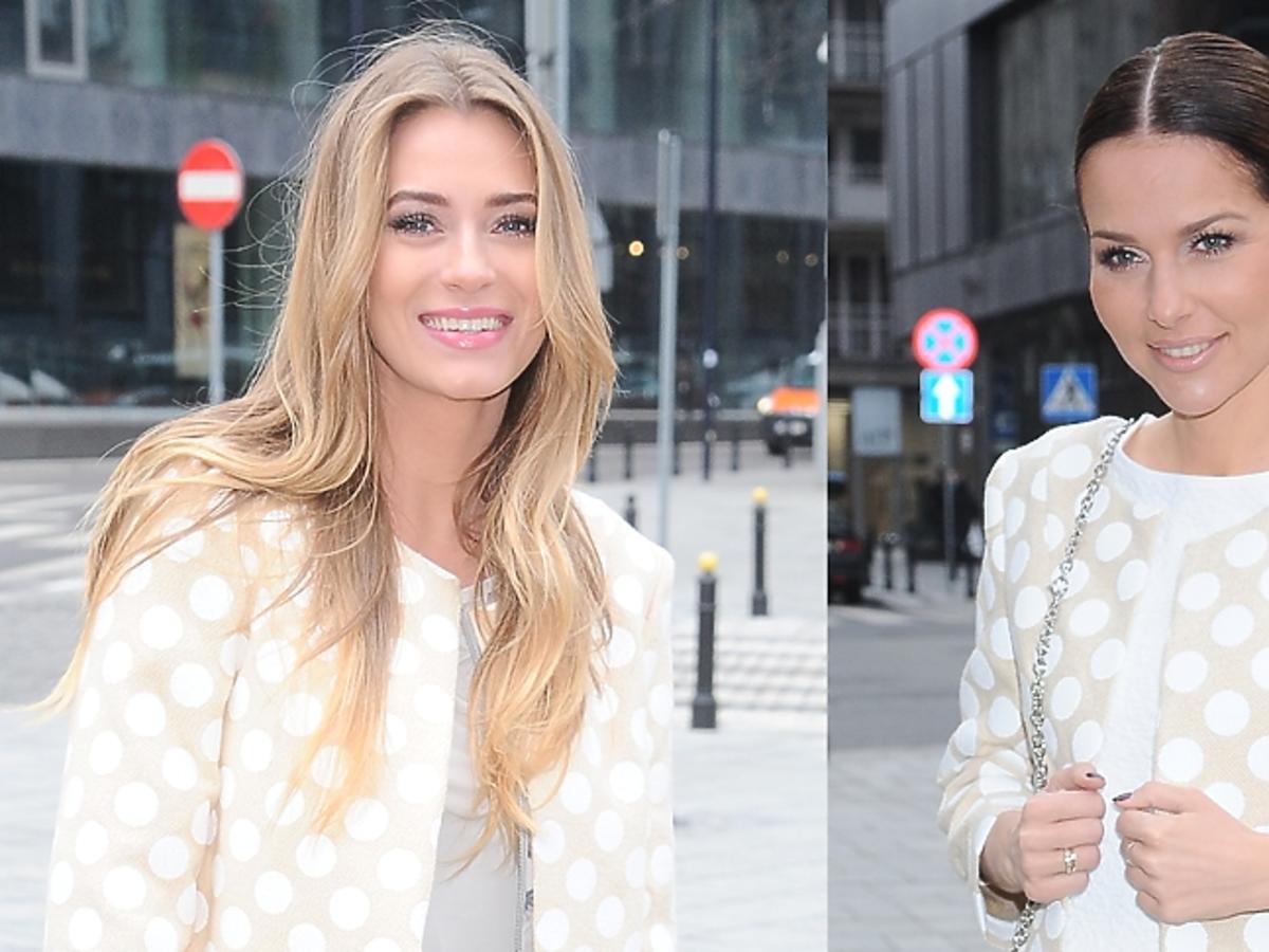 Marcelina Zawadzka i Paulina Sykut w tym samym białym płaszczu
