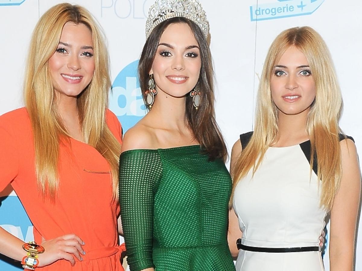 Marcelina Zawadzka, Paulina Krupińska i Rozalia Mancewicz a konferencji Miss Polonia 2014
