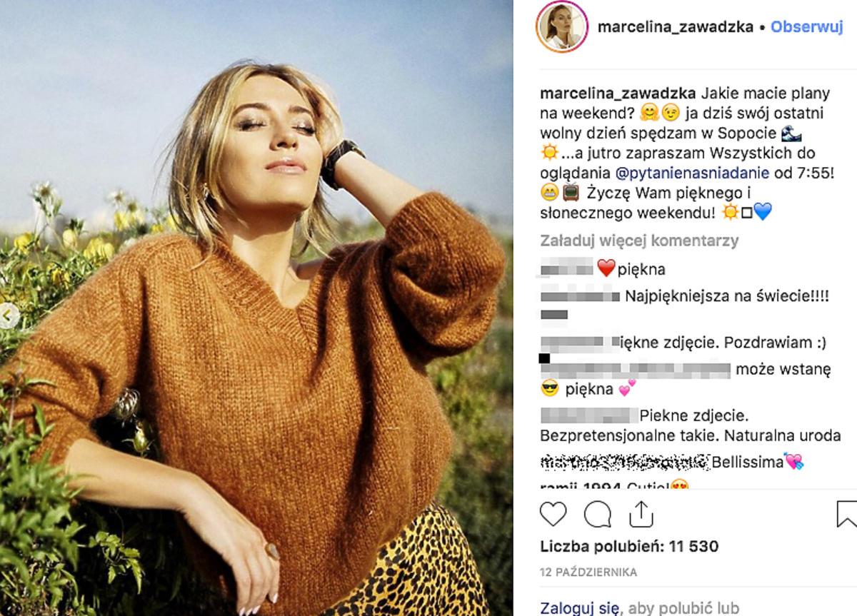 Marcelina Zawadzka w rudym swetrze Instagram