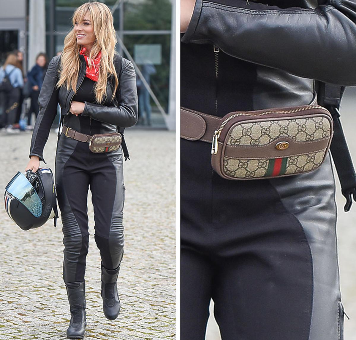 Marcelina Zawadzka z torebką Gucci wychodzi z