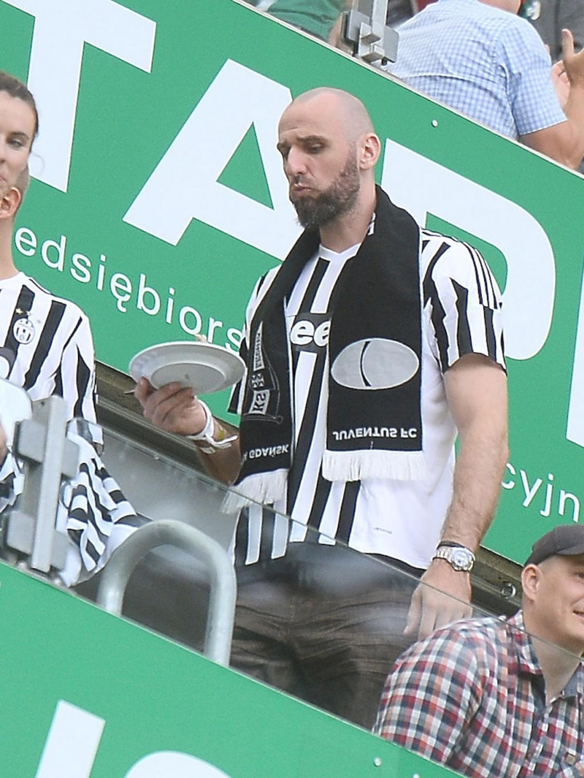 Marcin Gortat na meczu Juventus Turyn-Lechia Gdańsk