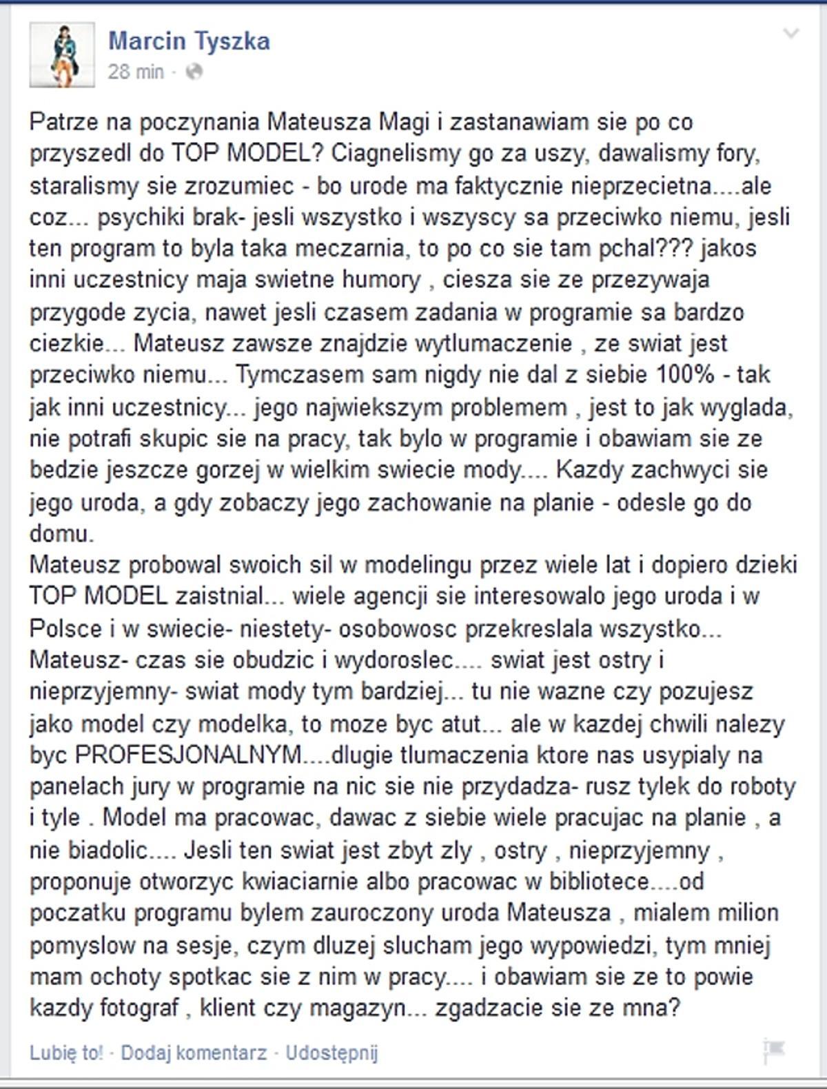 Marcin Tyszka krytykuje Mateusza Magę