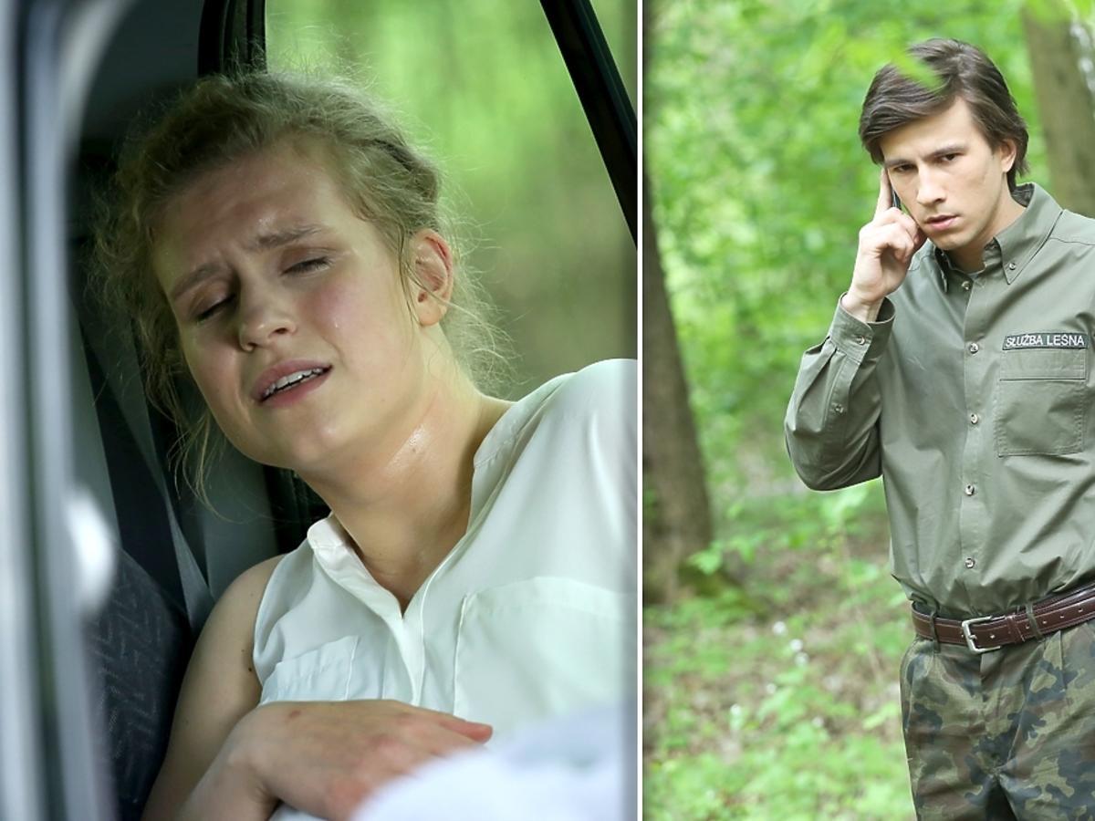 Marcjanna Lelek i Piotr Nerlewski w samochodzie w lesie