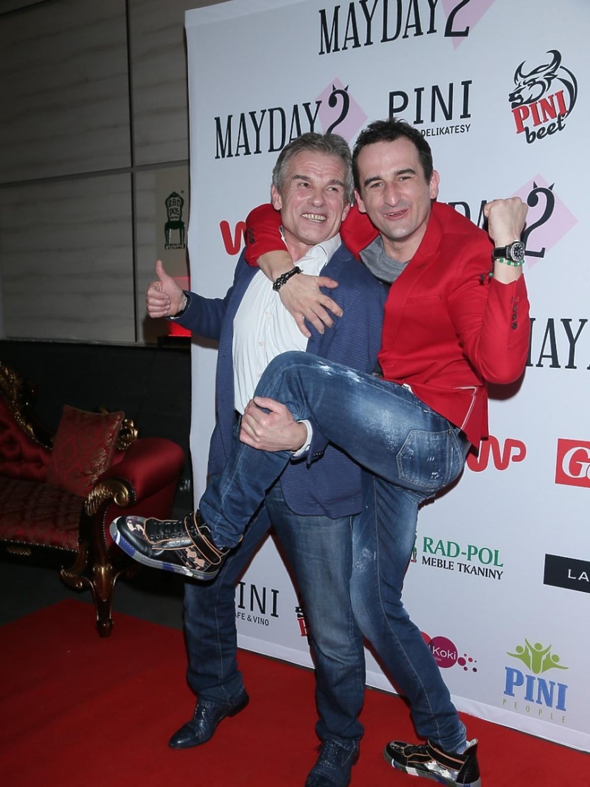 Marek Włodarczyk i Michał Koterski na premierze spektaklu Mayday 2