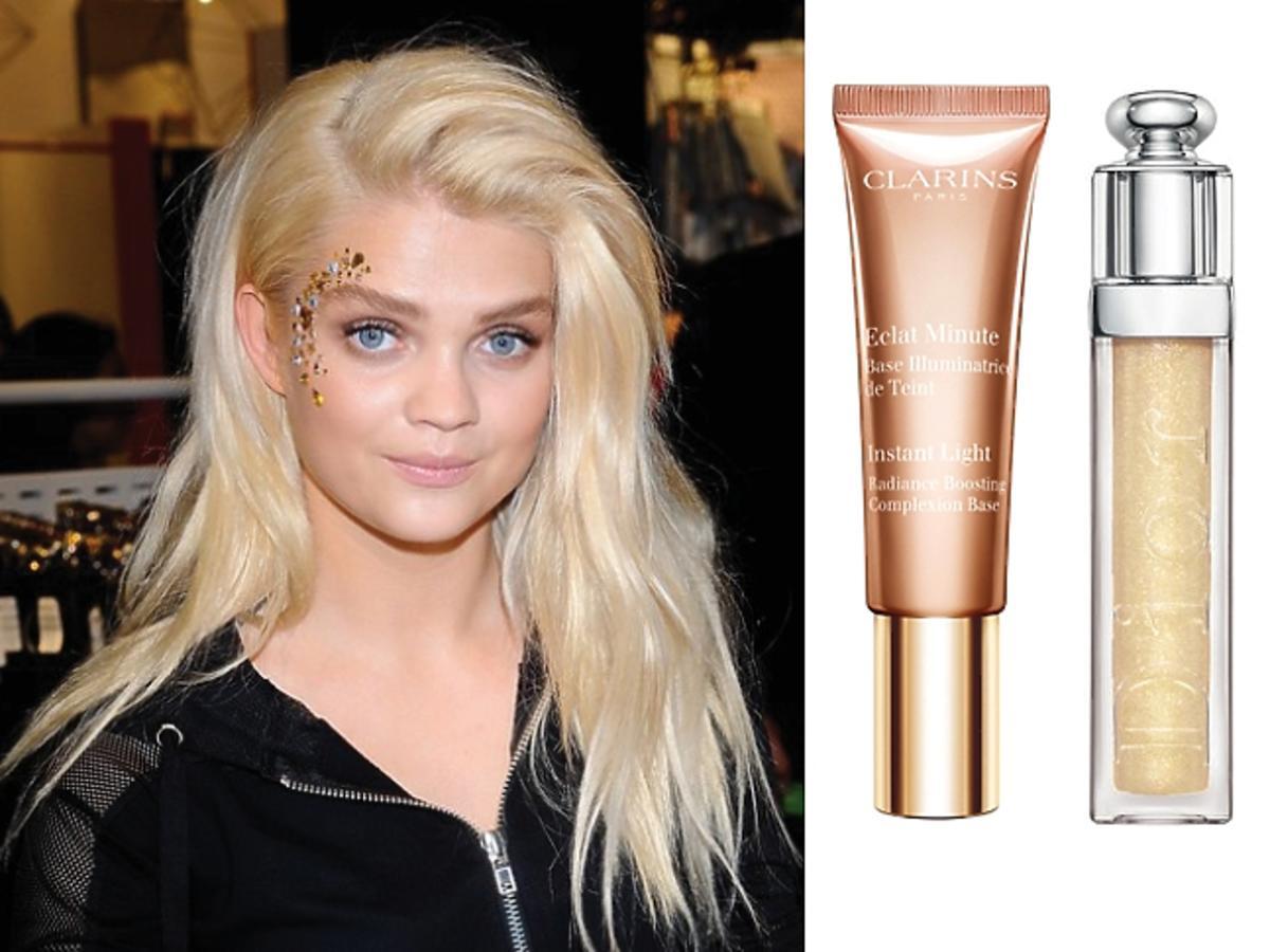 Margaret w złotym makijażu, złociste kosmetyki