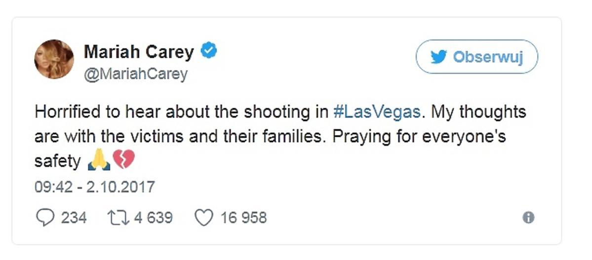 Mariah Carey o zamachu w Las Vegas