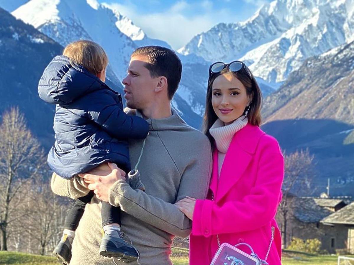 Marina w górach z synem