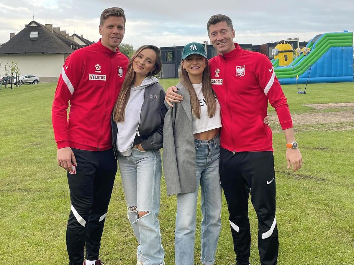 Marina z mężem Wojciechem Szczęsnym i Anna Lewandowska z mężem Robertem, przygotowania do Euro 2020 (2021)