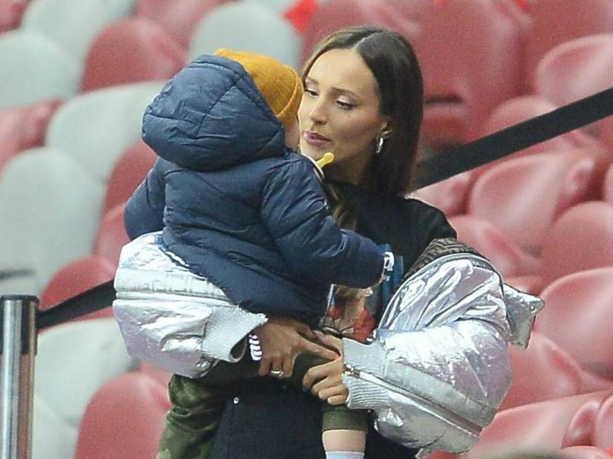 Marina z synem na meczu Polska- Słowenia