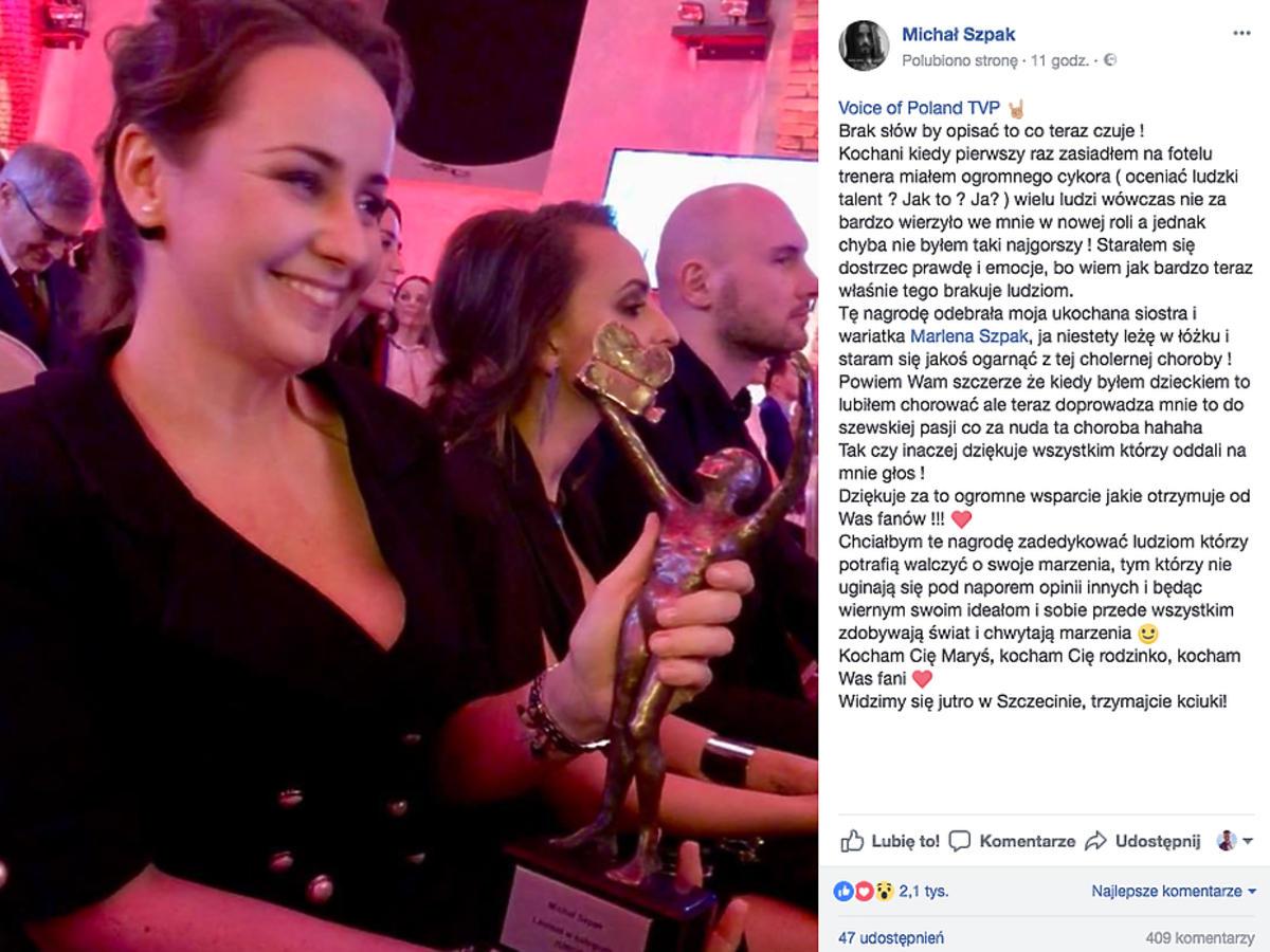 Marlena Szpak odebrała nagrodę za Michała