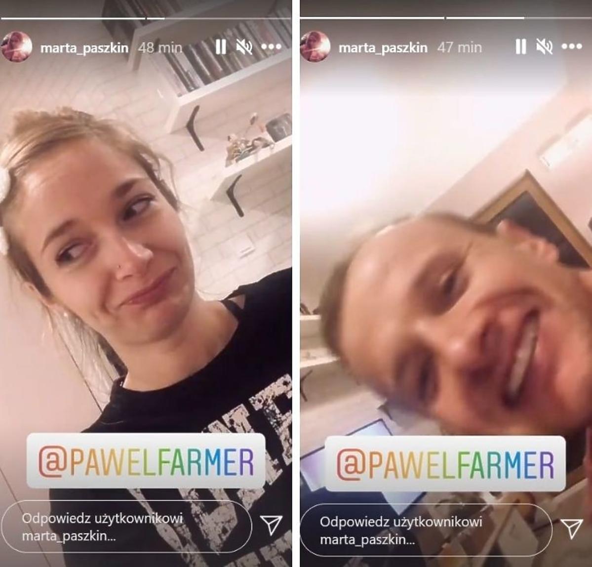 Marta i Paweł z Rolnik szuka żony- partnerka rolnika w czarnej bluzce z białymi napisami