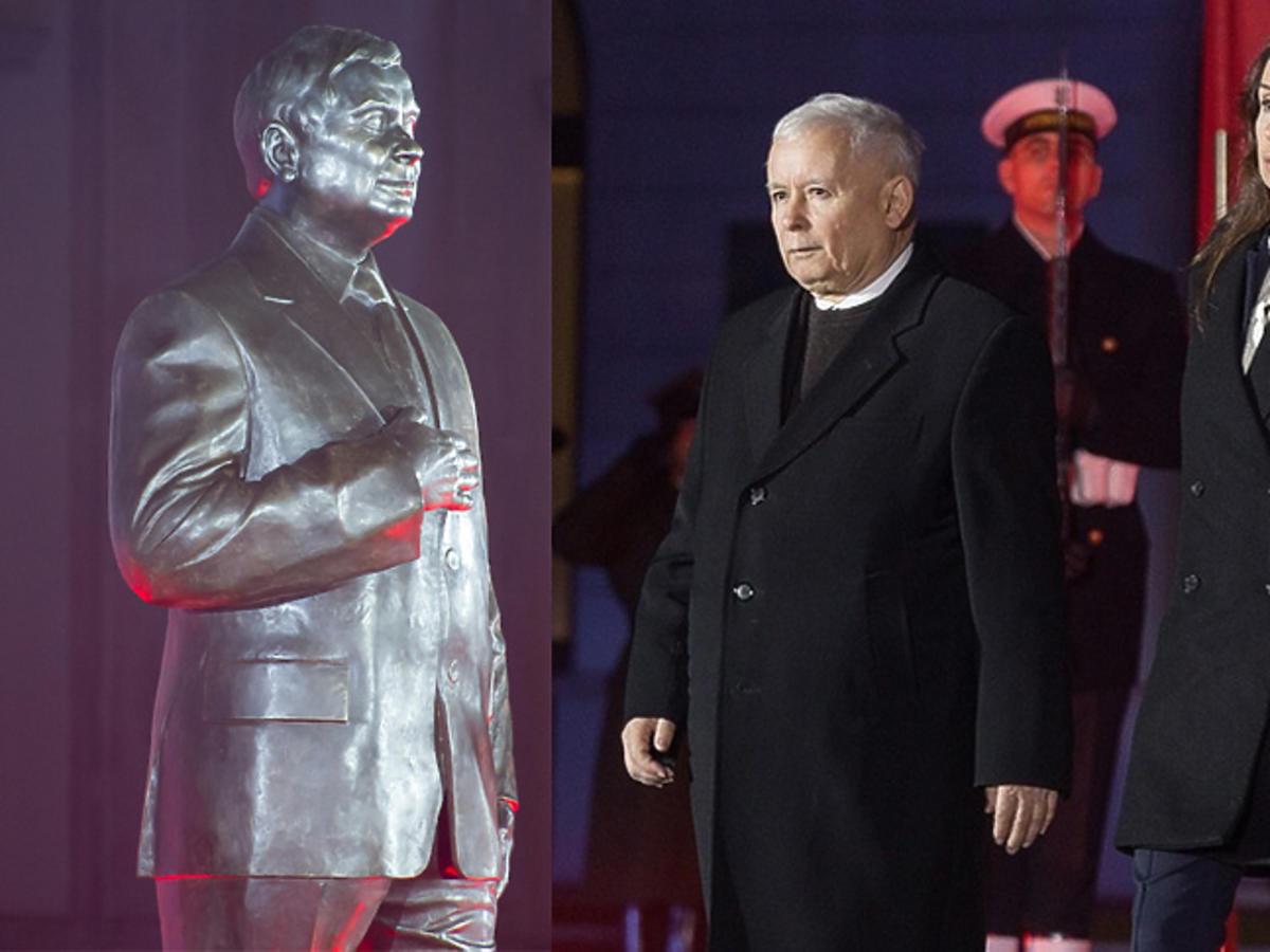 Marta Kaczyńska i Jarosław Kaczyński na odsłonięciu pomnika Lecha Kaczyńskiego