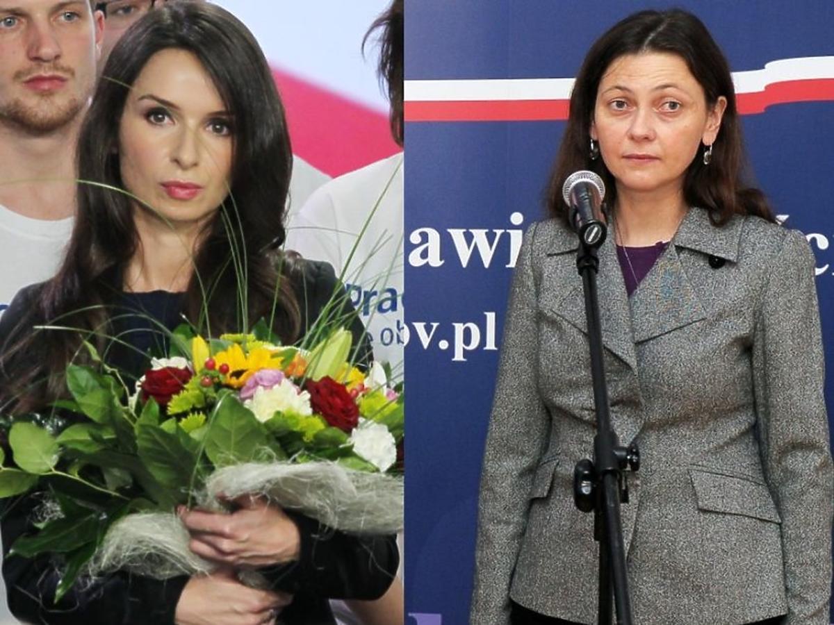 Marta Kaczyńska z kwiatami, Monika Zbrojewska na konferencji prasowej