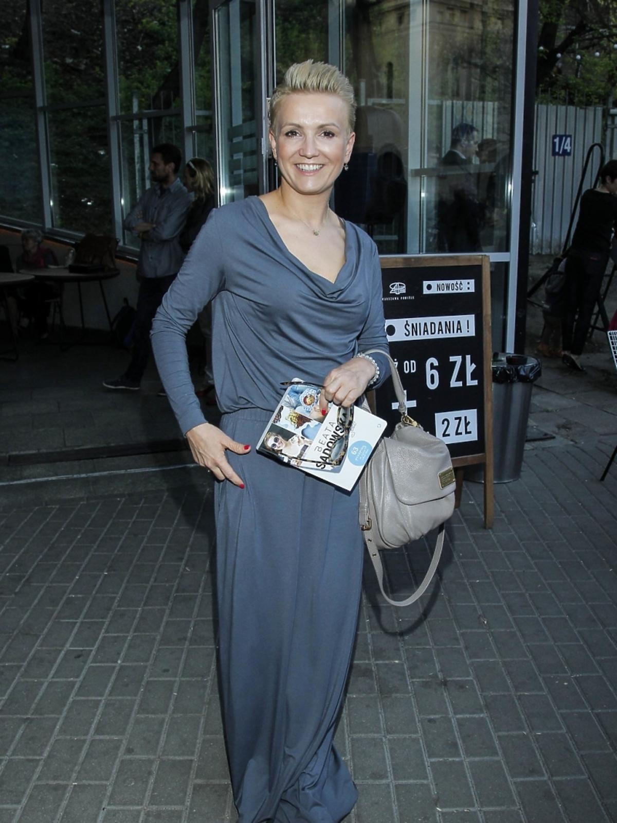 Marta Kuligowska na premierze książki Beaty Sadowskiej