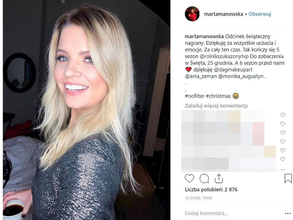 Marta Manowska na nagraniu świątecznego odcinka Rolnik szuka żony