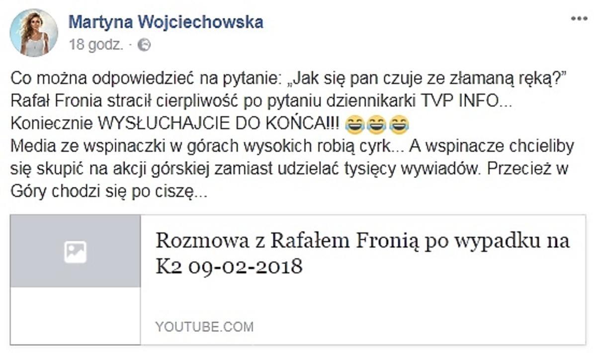 Martyna Wojciechowska komentuje przerwany wywiad Rafała Froni