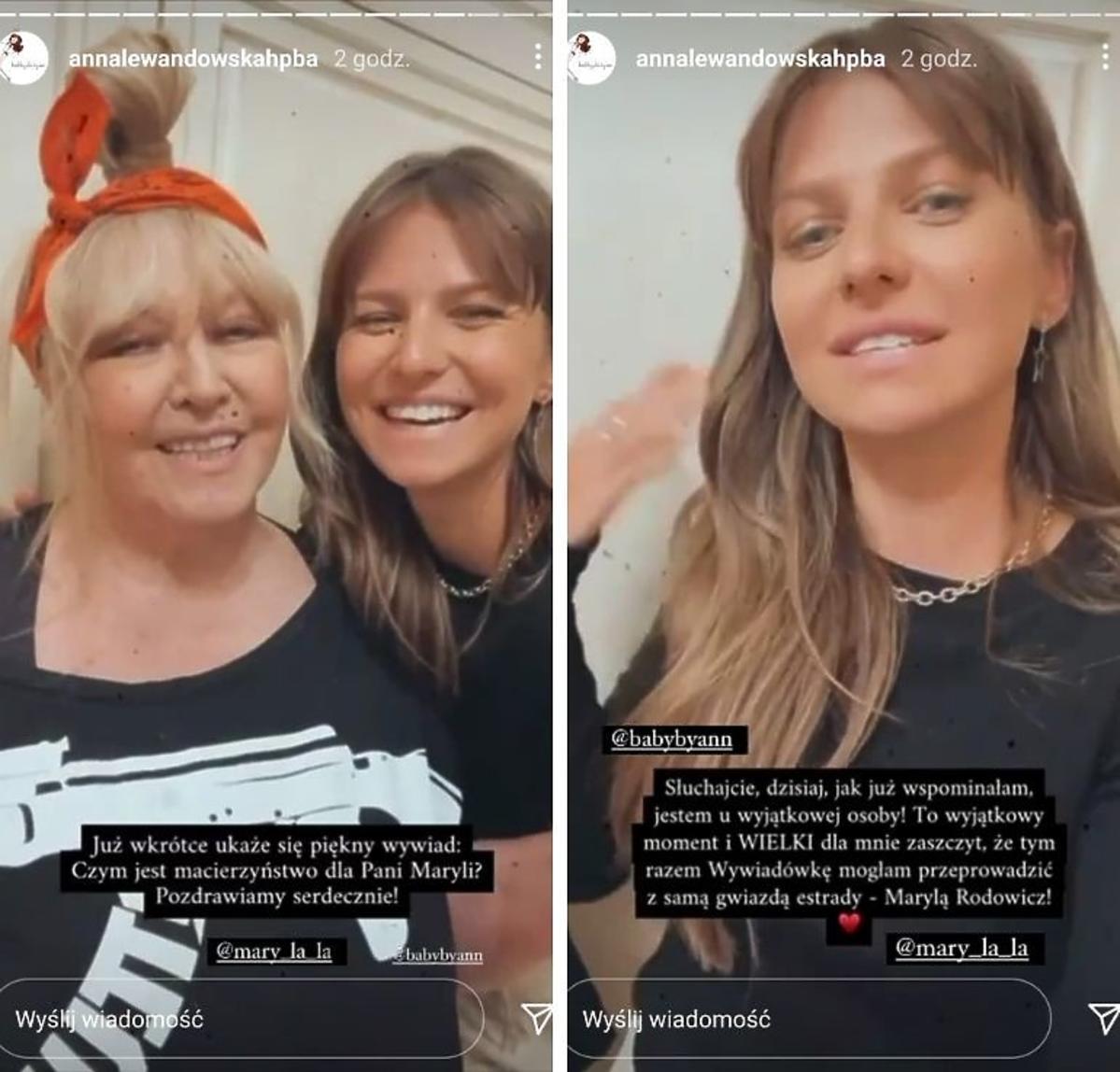 Maryla Rodowicz i Anna Lewandowska w czarnych koszulkach