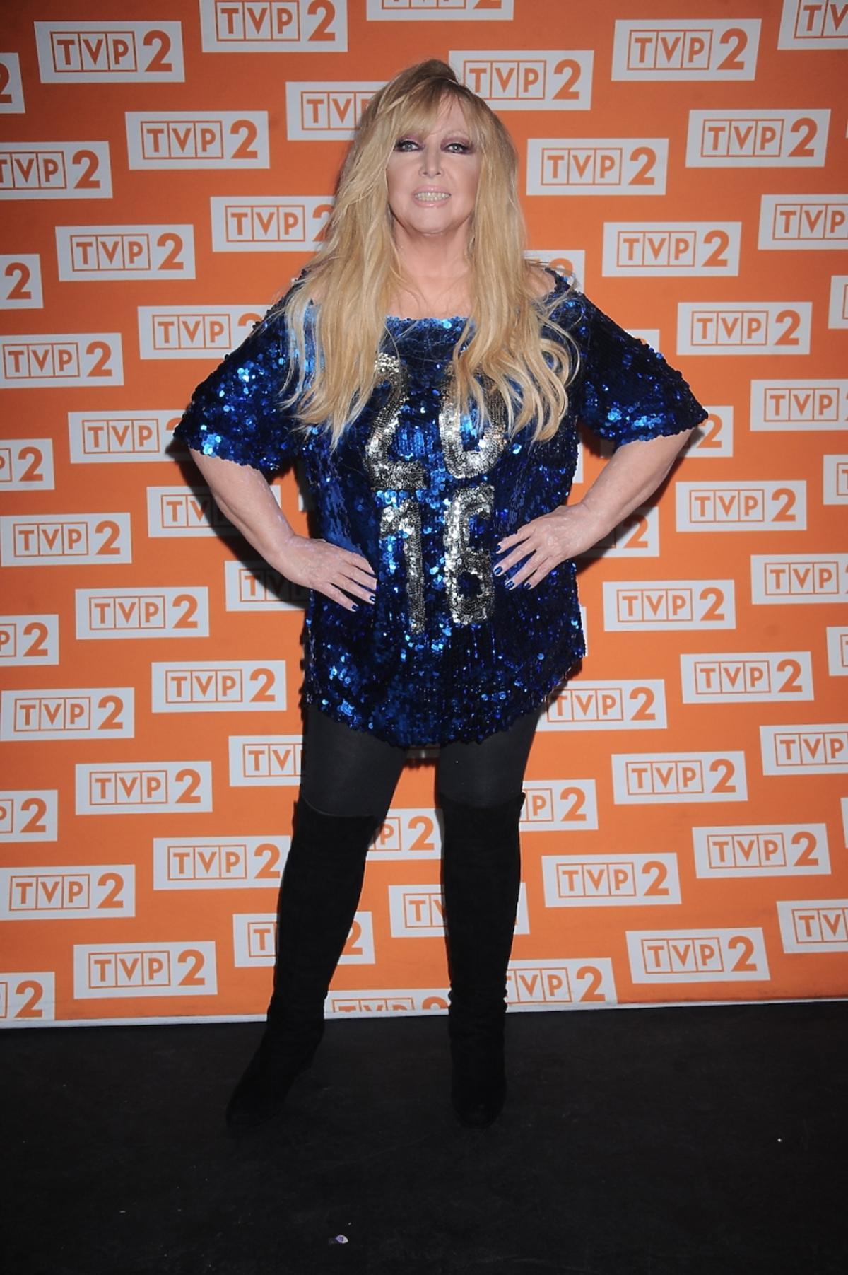 Maryla Rodowicz w niebieskiej bluzce