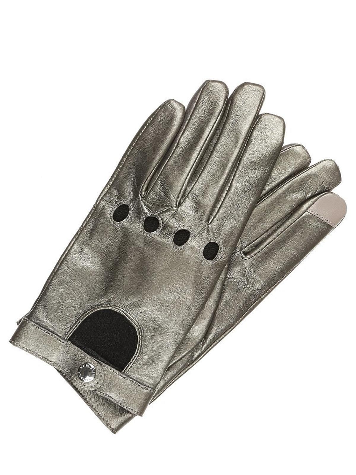 mataliczne rękawiczki z dziurkami