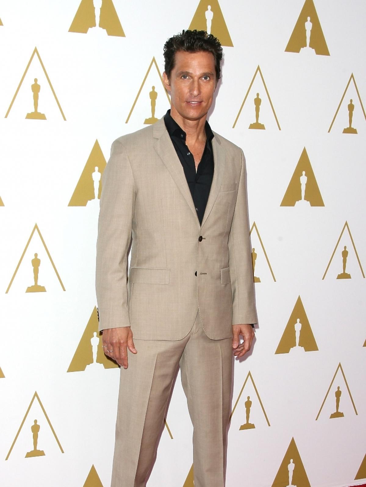 Matthew McConaughey podczas konferencji prasowej nominacji do Oscarów 2014