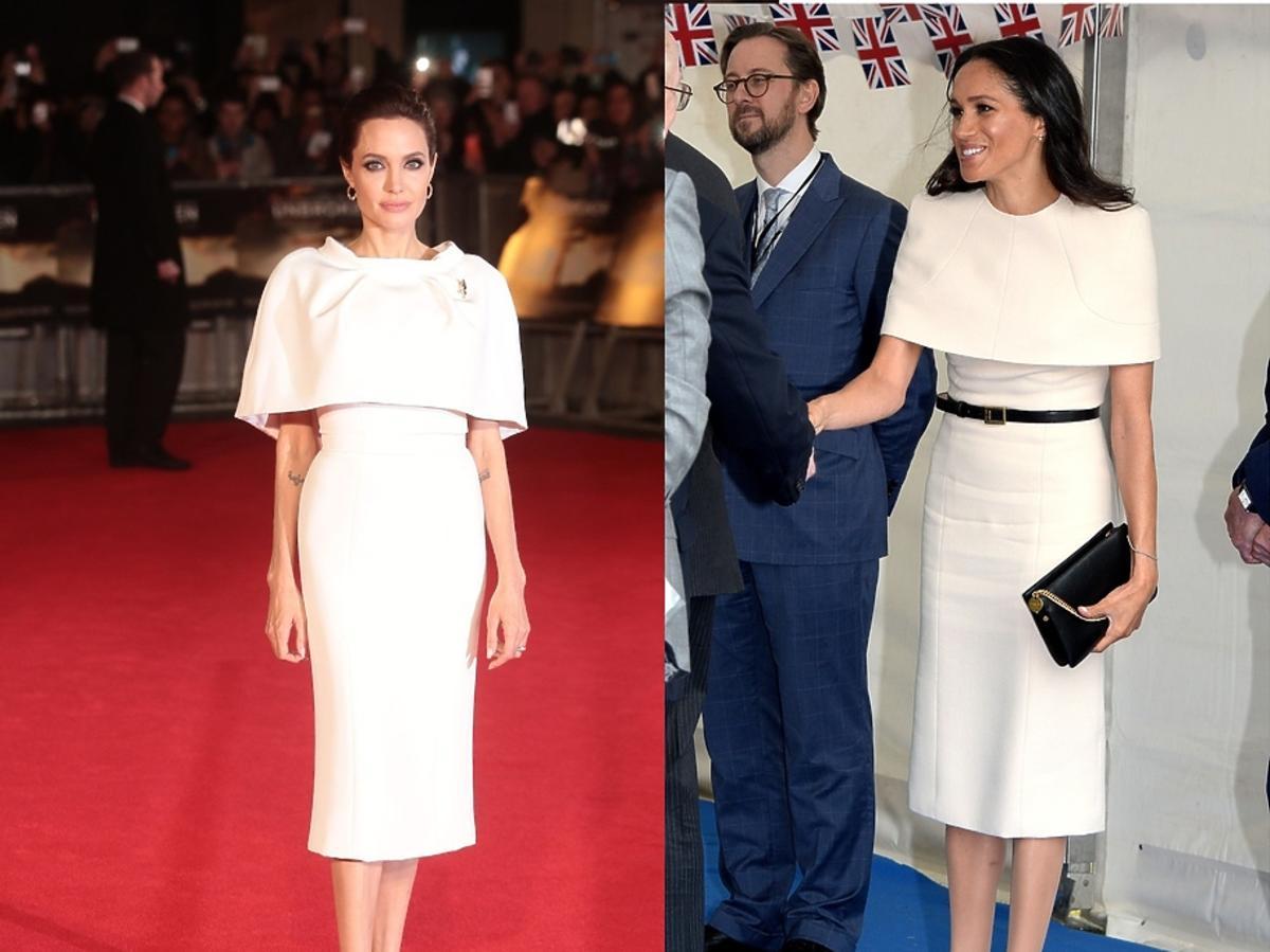 Meghan Markle i Angelina Jolie w niemal identycznej kreacji