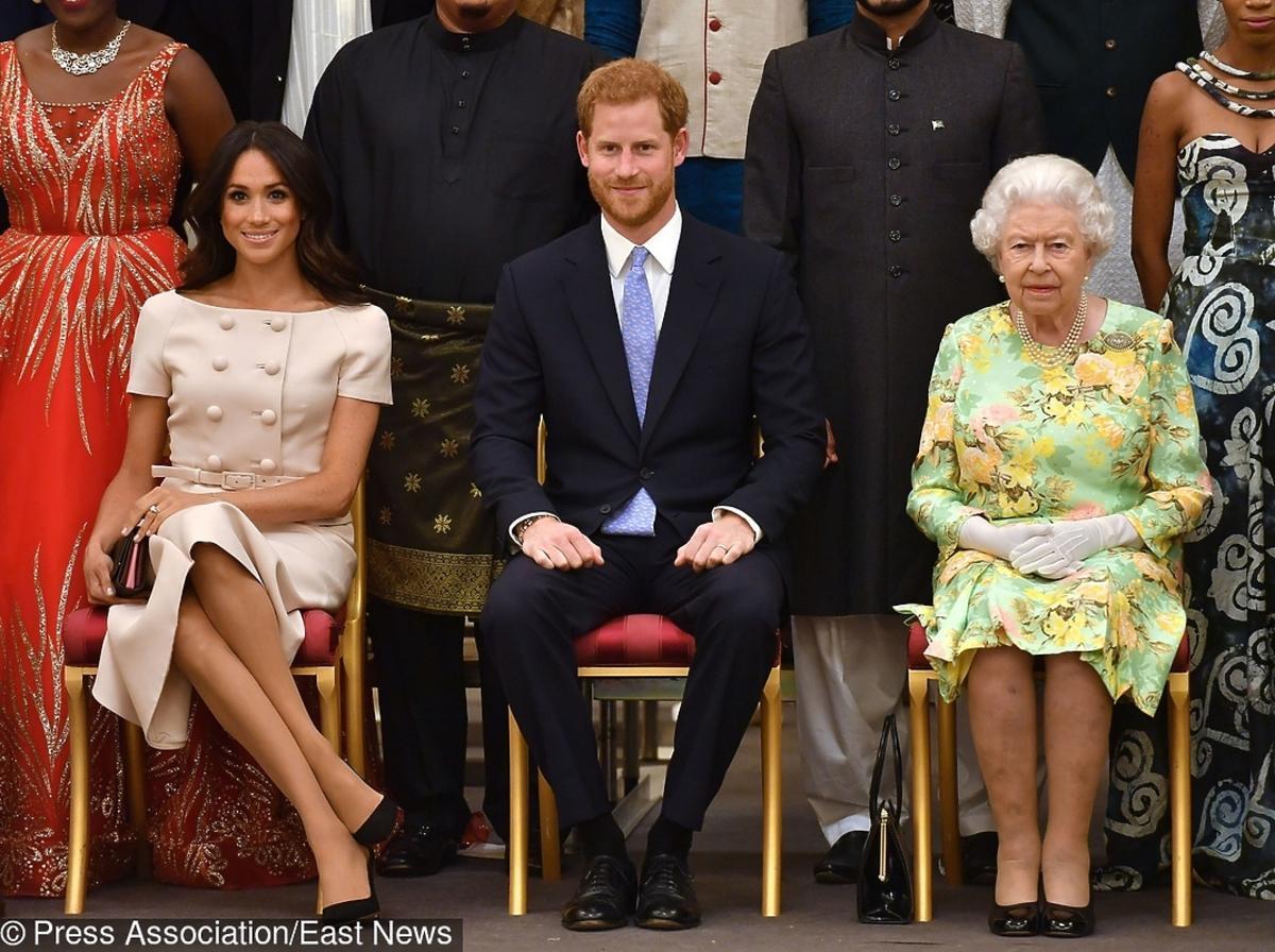 Meghan Markle, królowa Elżbieta II, książę Harry