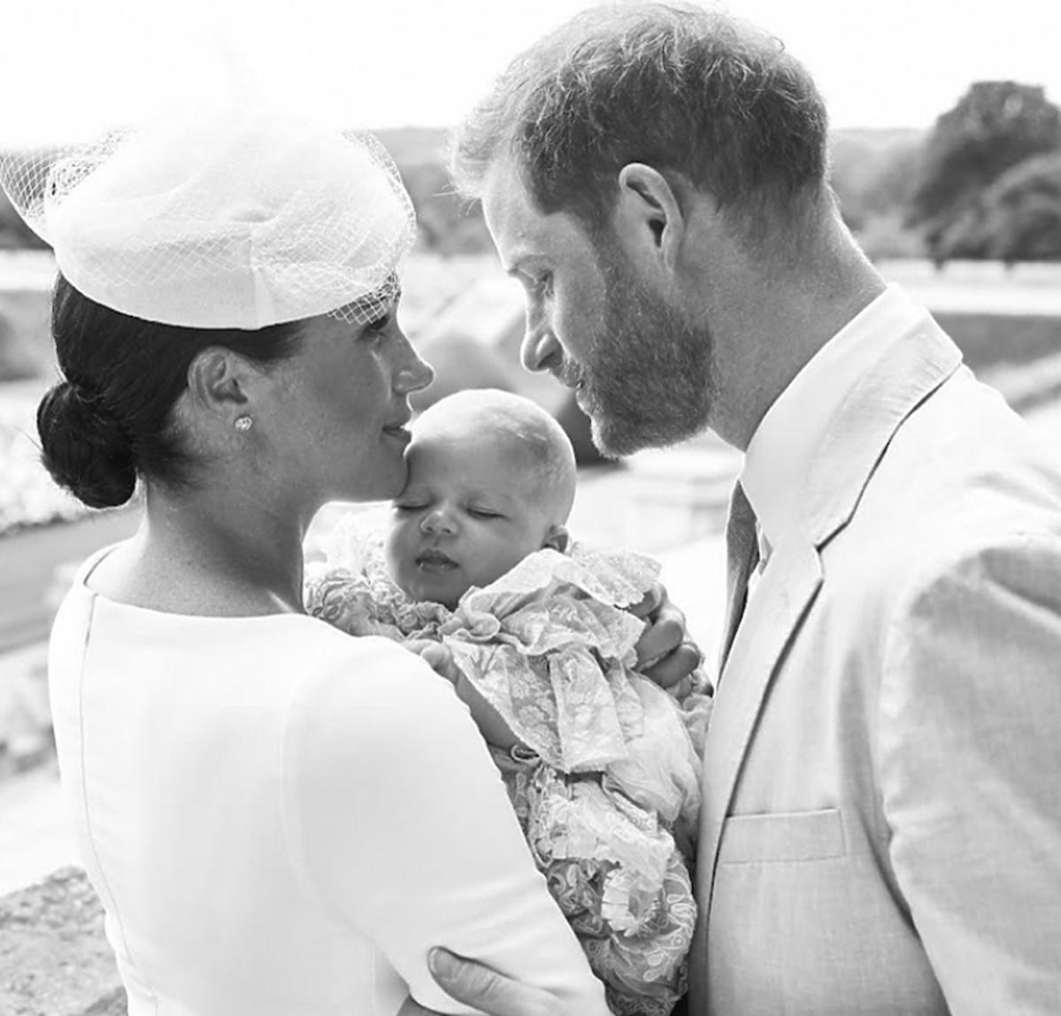 Meghan Markle, książę Harry, Archie na chrzcie