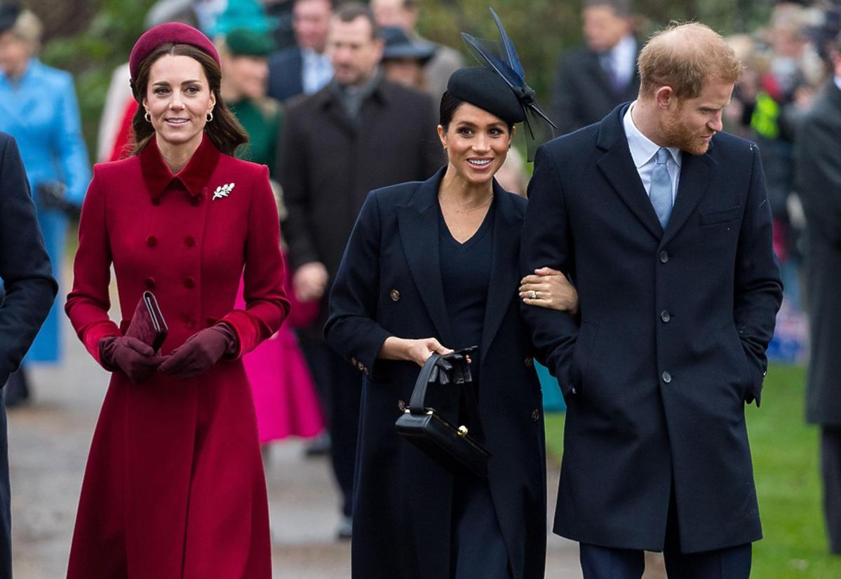 Meghan Markle, książę Harry, księżna Kate podczas świąt