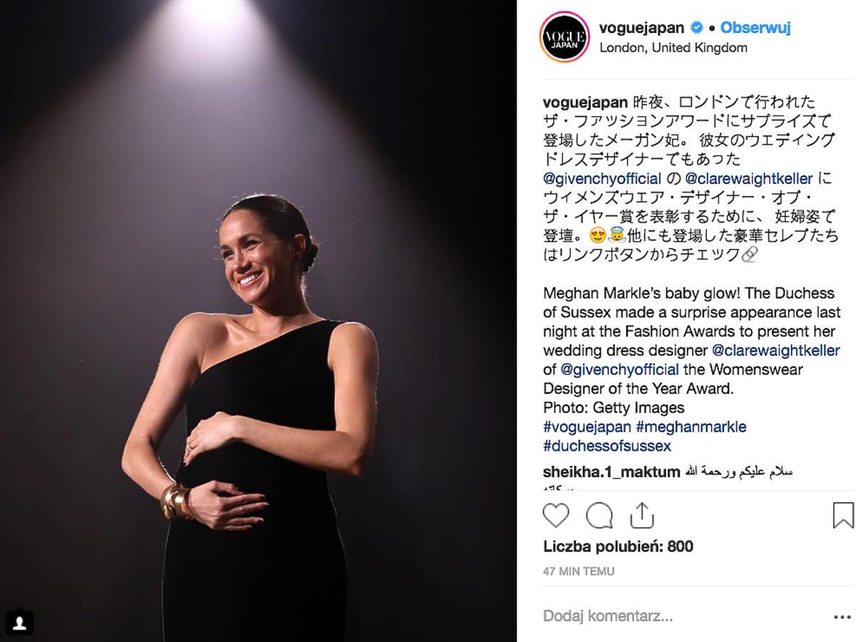 Meghan Markle na British Fashion Awards 2018