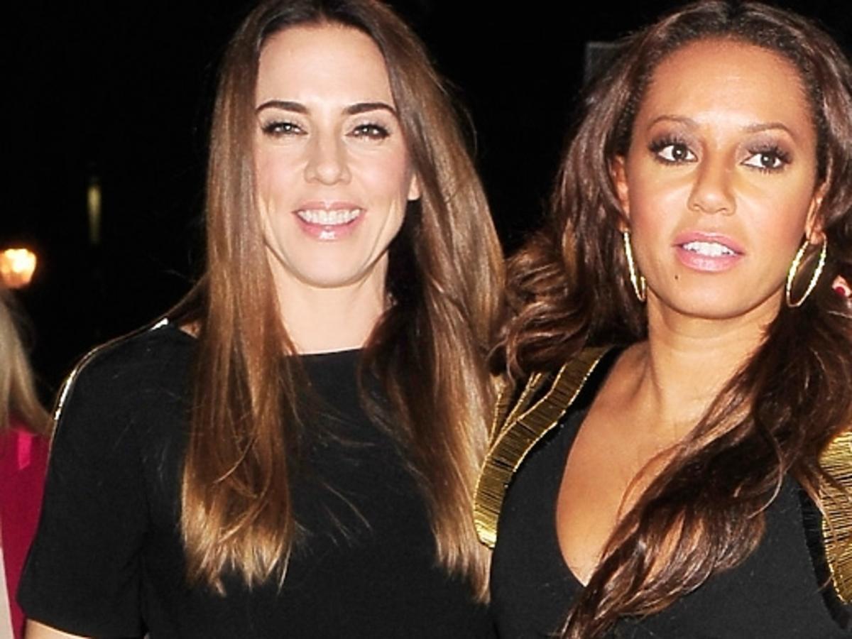 Mel C i Mel B ze Spice Girls wracają z imprezy w Londynie