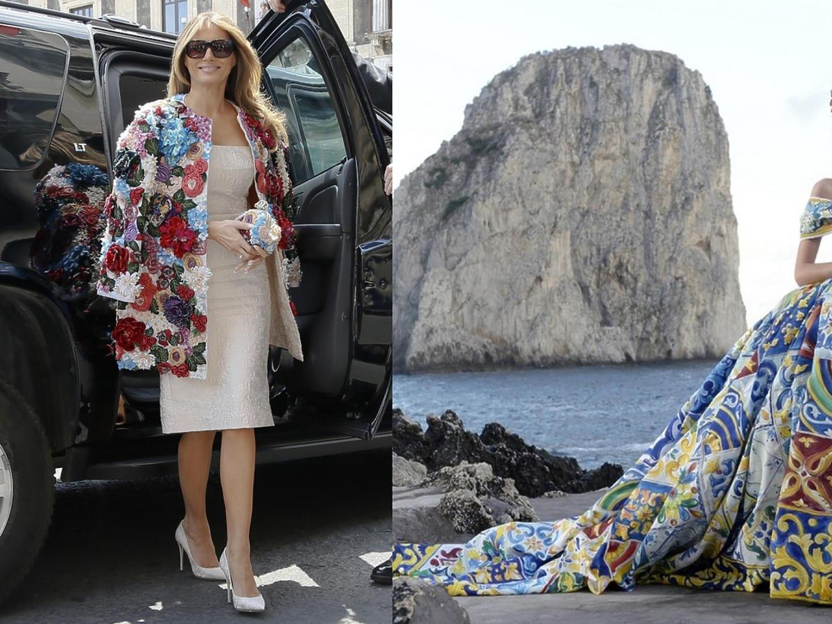 Melania Trump w płaszczu Dolce & Gabbana alta moda