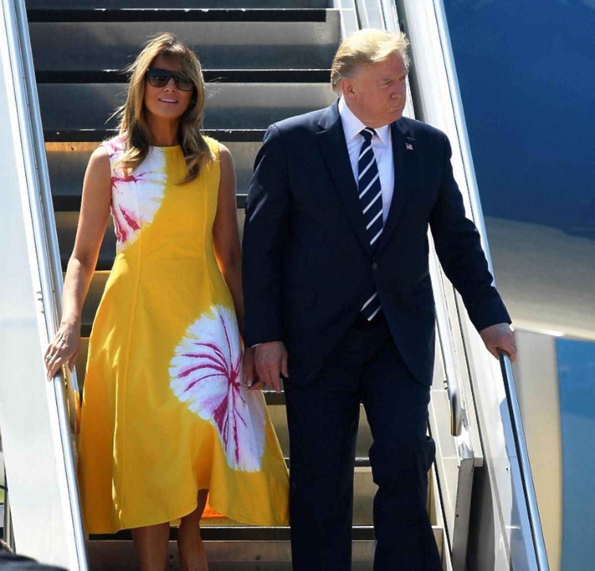 Melania Trump w żółtej sukience
