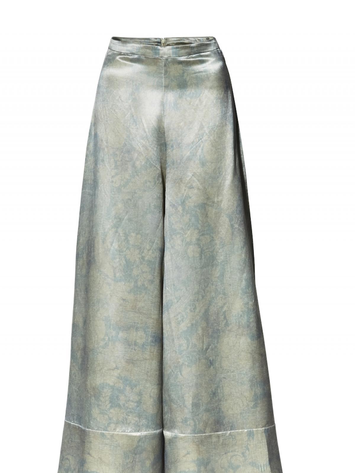 metaliczne spodnie w szerokimi nogawkami