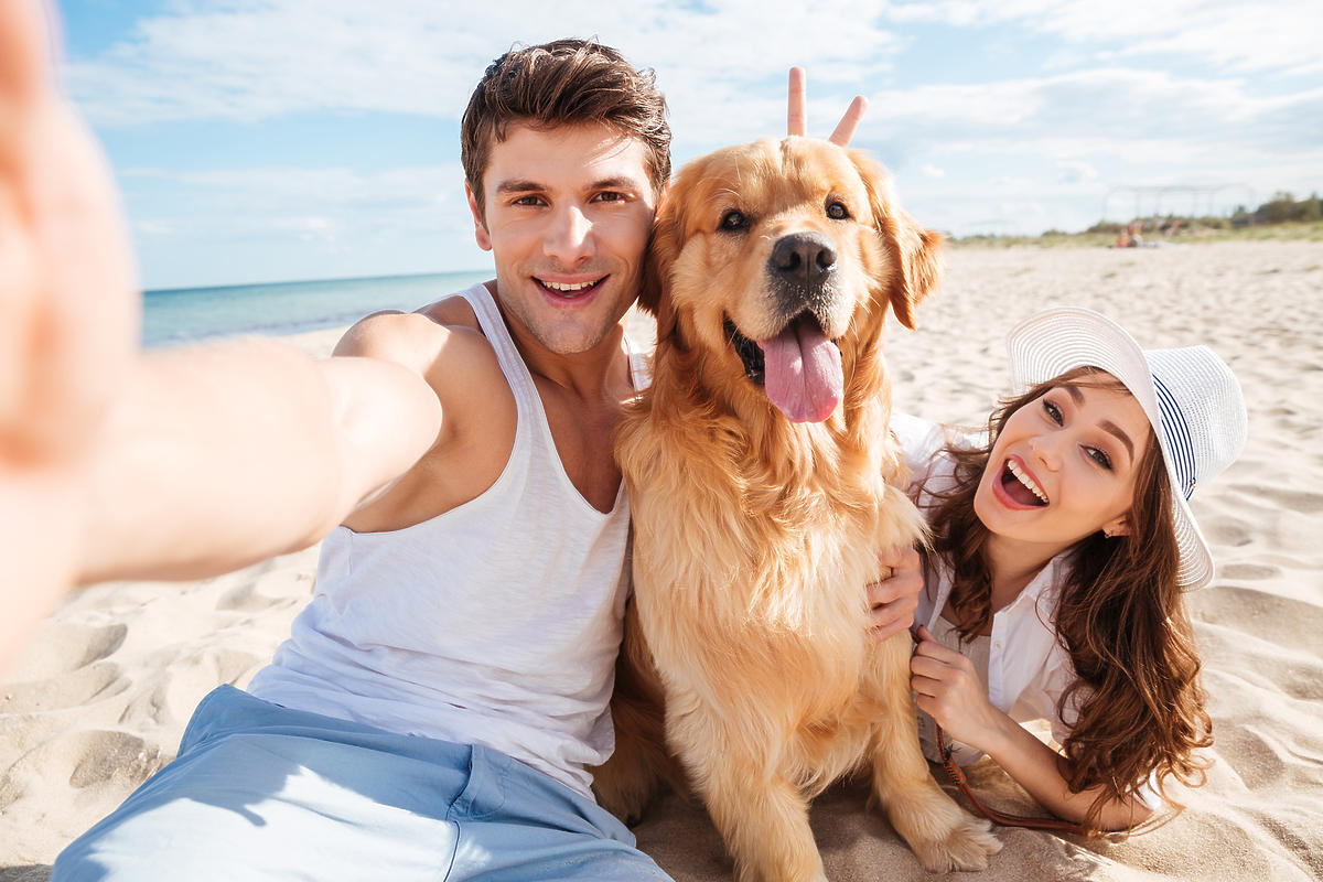 Mężczyzna i kobieta bawią się z psem na plaży