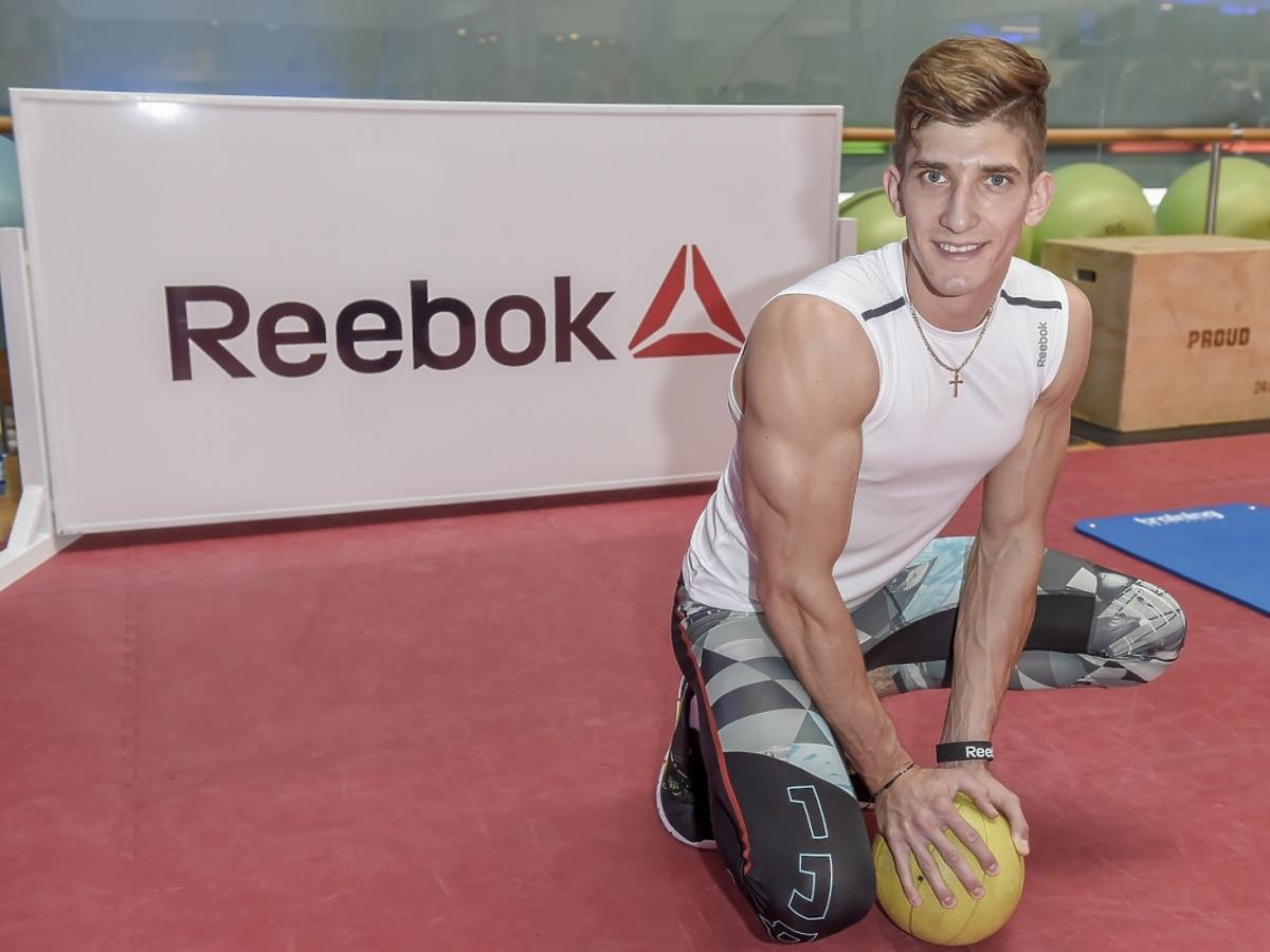 Michał Baryza podczas przygotowań do Reebok Fitness Camp 2015