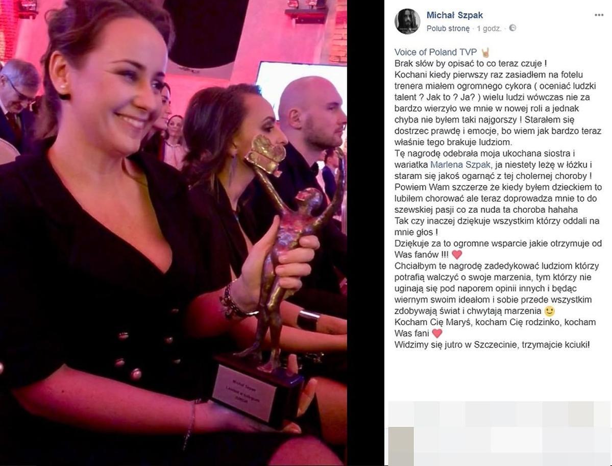 Michał Szpak dziękuje za Telekamerę