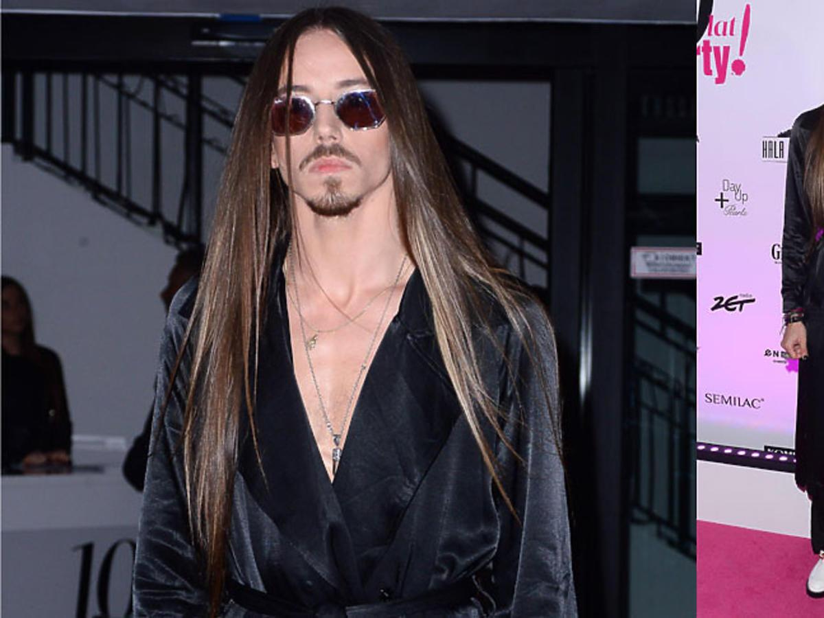 Michał Szpak na 10 lat Party, w czarnym płaszczu Reserved i białych butach Balenciaga