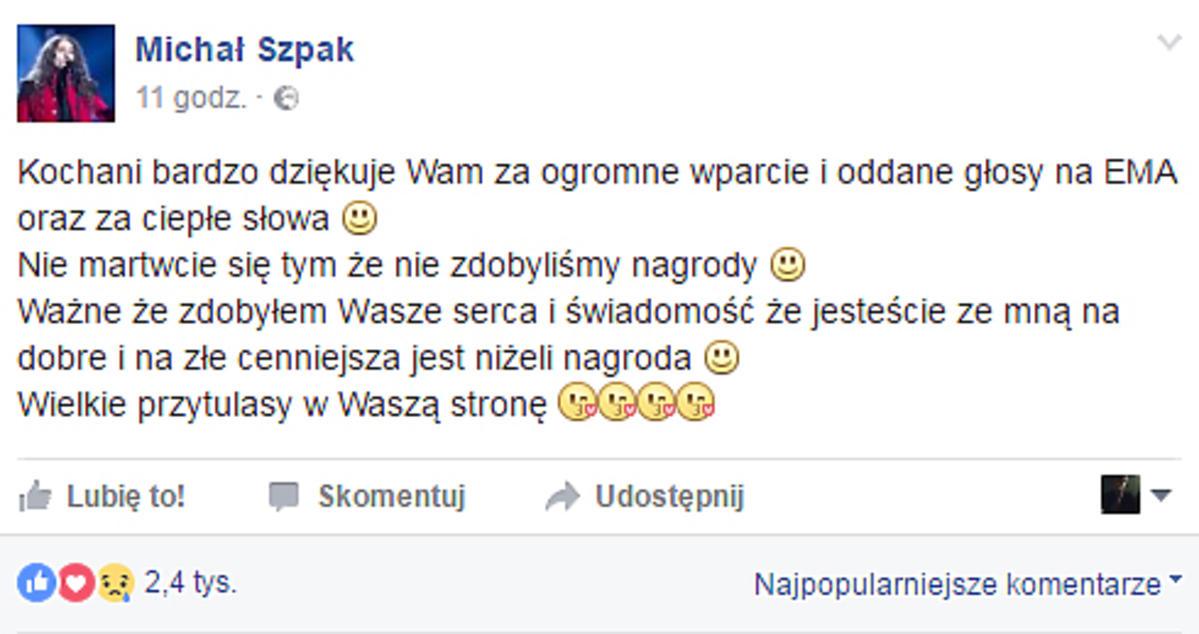 Michał Szpak o przegranej na Eska Music Awards