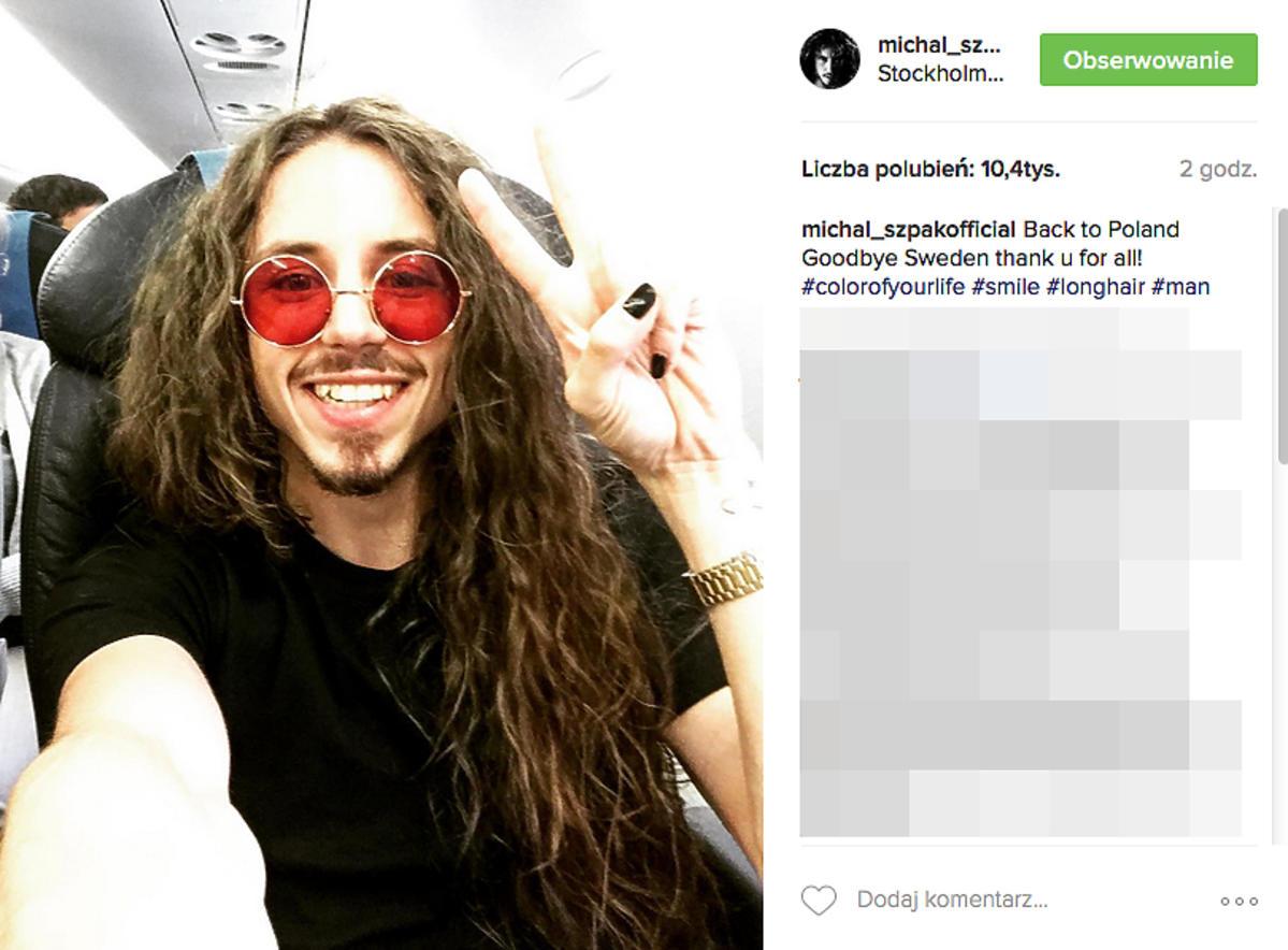 Michał Szpak przyleciał ze Szwecji po Eurowizji