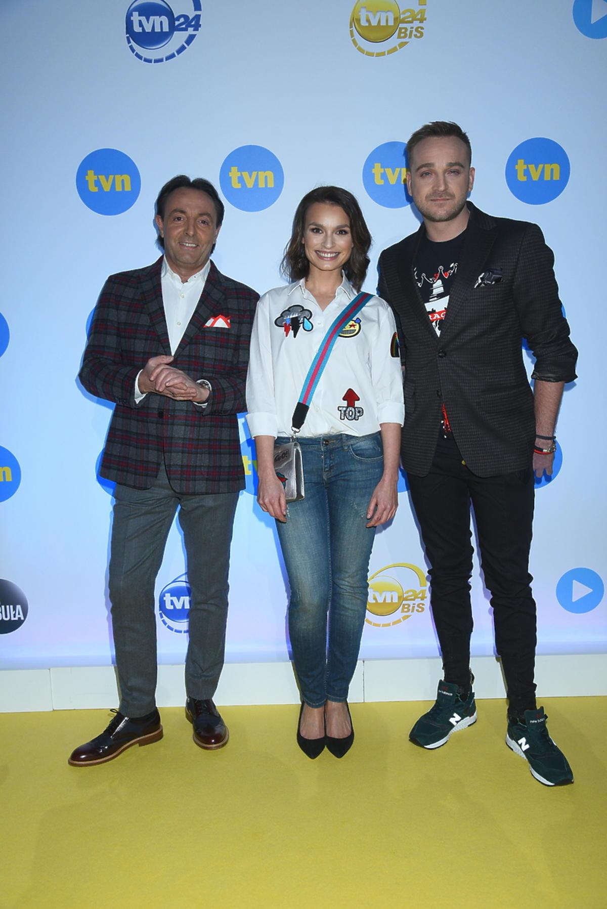 Michel Moran, Anna Starmach i Mateusz Gessler na prezentacji wiosennej ramówki TVN