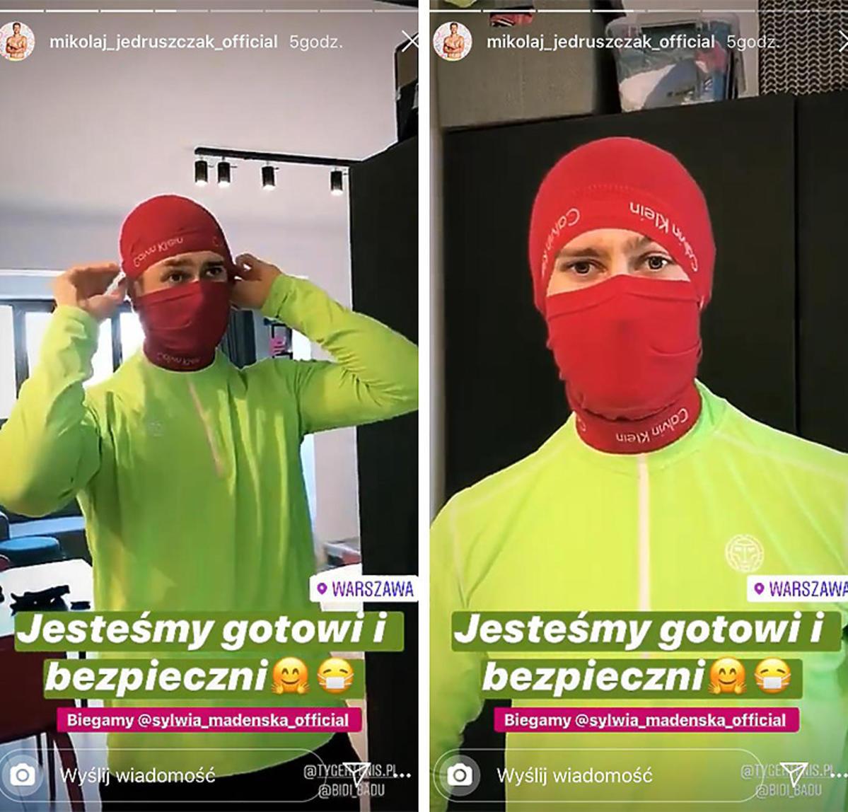 Mikołaj Jędruszczak i Sylwia Madeńska w maseczkach ochronnych z bokserek