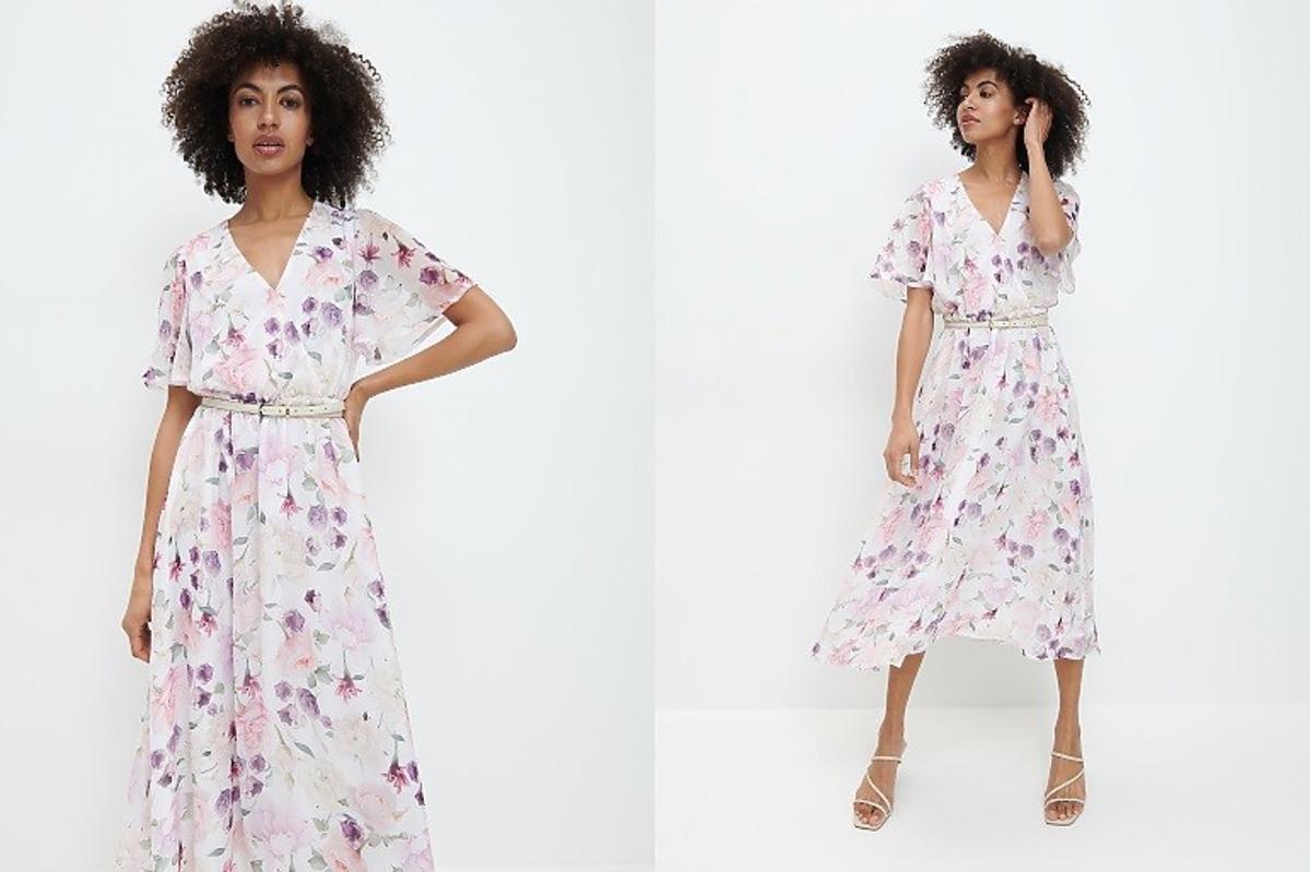 mohito biała sukienka w duże kwiaty